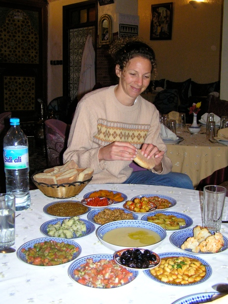 a great spread of Moroccan food